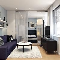 Хол и спалня в бяло и светло синьо - реализиран проект за ремонт на апартамент