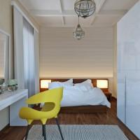 Спалня в светли тонове и мебели в бяло