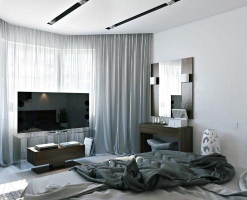 Интериорен дизайн и направен ремонт на спалня с окачен таван в София