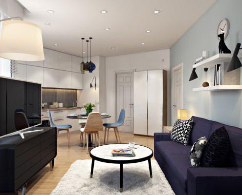 Ремонт на студио - кухненски бокс с окачен таван и осветителни тела
