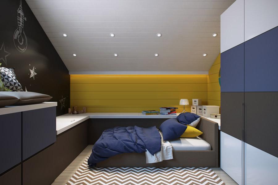Малък мансарден апартамент с удобна спалня и скосен таван с вградено осветление