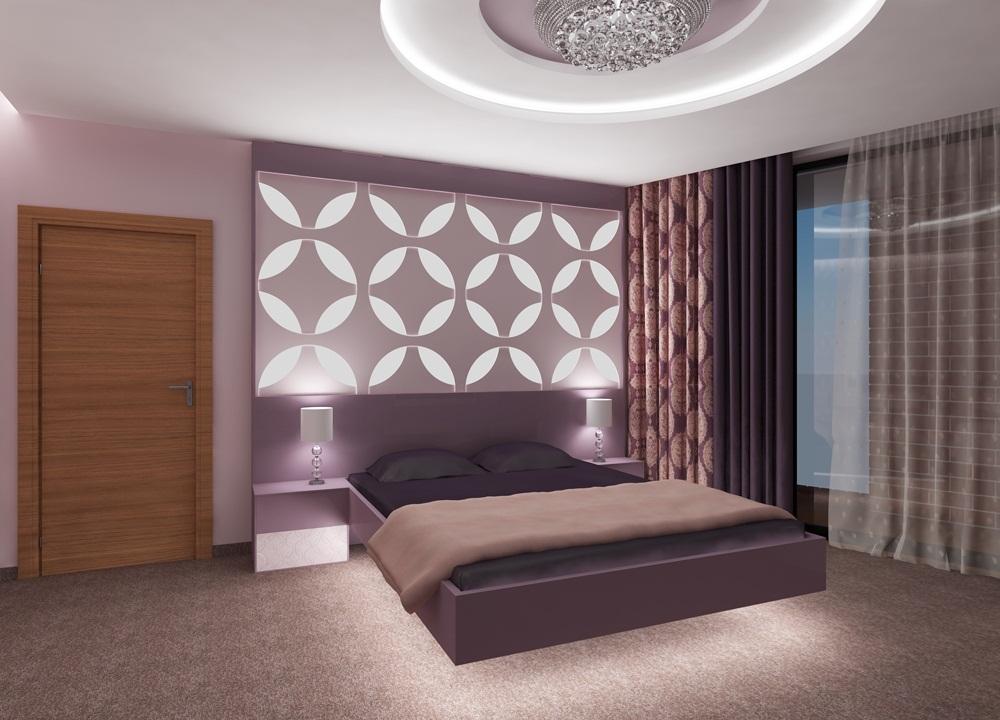 Спалня елегантен интериор в лилаво вариант 2